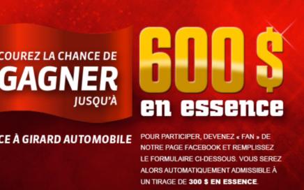 Concours. Jusqu'à 600$ d'essence avec Girard Automobile