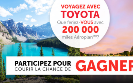 Concours pour gagner 200 000 Miles Aeroplan avec Toyota Canada
