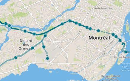 tracé proposé du Réseau élecrtrique métropolitain (REM)