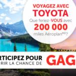 Gagnez 200 000 miles Aeroplan avec Toyota