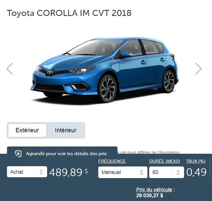 2018 Toyota Corolla IM CVT terme de 60 mois