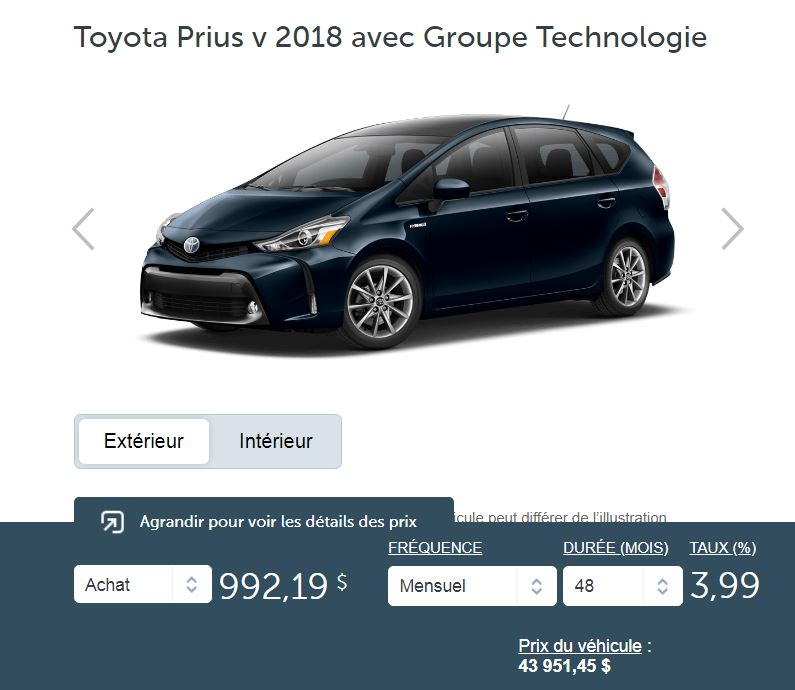 2018 Toyota Prius V groupe technologie