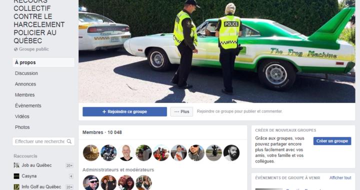Groupe Facebook recours collectif contre le harcelement policier au Québec